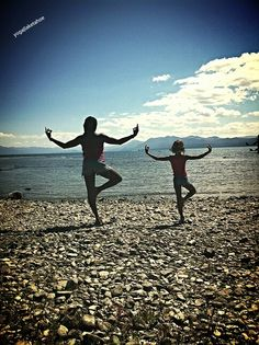 #yoga in #laketahoe with my little honeybee livi..
