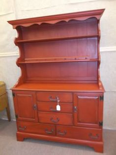 SOLD - This Ethan Allen solid wood china hutch is 2 piece construction for easy moving - painted, distressed and finished in dark wax - pewter colored hardware. ***** In Booth E4 at Main Street Antique Mall 7260 E Main St (east of Power RD on MAIN STREET) Mesa Az 85207 **** Open 7 days a week 10:00AM-5:30PM **** Call for more information 480 924 1122 **** We Accept cash, debit, VISA, MasterCard or Discover.
