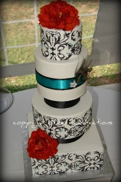 Black & White Damask wedding cake with Teal Peacock Accents By cambo on CakeCentral.com