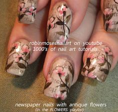 vintage newspaper nails with antique flowers  www.youtube.com/...