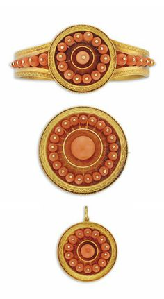 A MID-VICTORIAN CORAL AND GOLD PARURE. Comprising a hinged bangle, brooch and pendant, the bangle with central circular panel applied with a loop of coral beads surrounding a slightly larger coral bead centre, within an engraved and wirework border, to similarly decorated coral-set tapering shoulders, the brooch and pendant of matching design, circa 1860