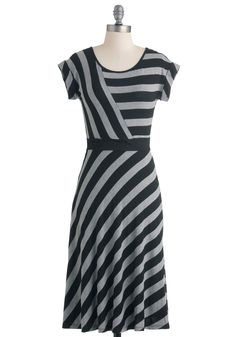 Love the way the stripes distract!  $45 An Afternoon with You Dress - Long, Black, Grey, Stripes, Casual, A-line, Cap Sleeves, Fall