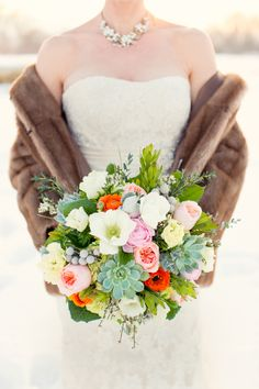 Pink Floral and Succulent Bouquet by http://www.flowersatwill.com/  | photography by http://twobirdstudio.com