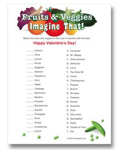 Dipping fruits and veggies in fondue? Match the fruit or veggie to the clues. Printable party game.