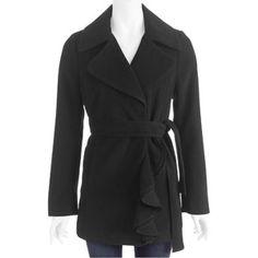 Women's Faux Wool Ruffle Front Trench Coat