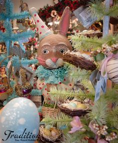 Debra Schoch's clown bunny among our Easter feather trees!