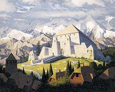 Tolkien Calendar Aug 1978 Golden Hall of Rohan, Brothers Hildebrandt