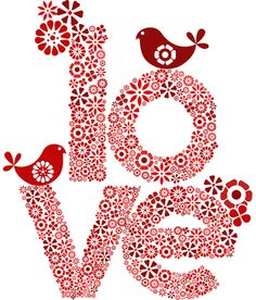 love (printable) valentine day ideas, graphic, heart, red, subway art, letter, flower drawings, birds, print