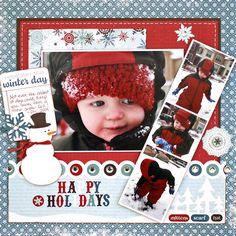 winter scrapbook page...hmm, never thought of using Super Hero for Winter scrapbooking until now.