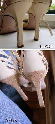 Use glitter and glue to repair shoes.   31 Creative Life Hacks Every Girl Should Know