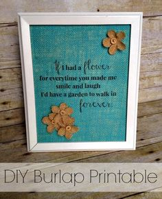 DIY how to print on Burlap with free Printable wall art