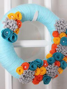 Hostess Gift Yarn Wreath Teal Aqua Orange Yellow by TheLandofCraft