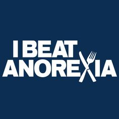 I BEAT ANOREXIA FUNNY T-SHIRT(WHITE INK)
