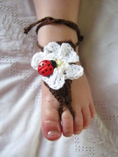 Barefoot Sandals Ladybug  Newborn to by ForgetMeKnotsCrochet, $12.00