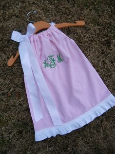 Monogrammed Pink Seersucker Pillowcase Dress - 3m to 6T......PERFECT for the BEACH, Spring, and Summer. $32.00, via Etsy.