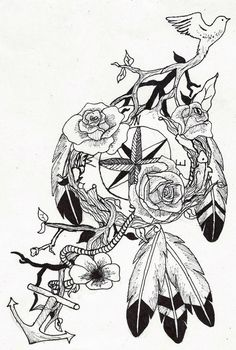 compass dream catcher tattoo by ~wolfluv95 on deviantART want something like this but no bird branches or anchor. instead an actual dreamcatcher with the flowers and compass