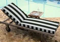 Chaise lounge cushions on pinterest 63 pins for Blue and white striped chaise lounge cushions