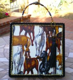 Southwestern Wild Mustangs Cigar Box Purse. Wild horses applique , black and gold beaded trim, black tassel, beaded handle and felt lined interior with make up mirror
