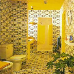 Hilarious, psychedelic 1970's bathroom, probably in USA.