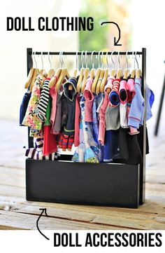 Easy Doll Clothing Storage Rack...I don't need this now, but I'm sure this will come in handy in a few years since baby girl is already in love with her dolls.