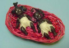Two 1930s Black Bisque Babies in original basket - Ruby Lane