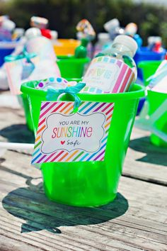 Cute party favors at an End of Summer Vintage Beach Party with Lots of Cute Ideas via Kara's Party Ideas KarasPartyIdeas.com #Beach #Party #Ideas #Supplies #partyfavors