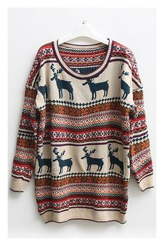 Winter is coming!! Nordic Print Oversized Knit Sweater