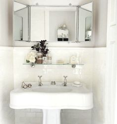 """Small simple white bathroom. How to decorate around the sink, keeping it pretty, clean and simple. """"Pretty Stuff"""" by Patterson Maker bathroom design, mirrors, bathroom idea, bathrooms, white bathroom, hous, sink, subway tiles, powder rooms"""
