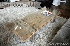 barn door coffee table @cleverlyinspired