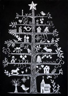 Nordic Christmas Tree | Made by Marquette: Scandinavian Christmas Tree Scratchboard