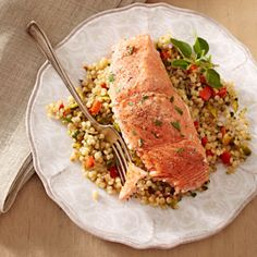 Salmon w/ toasted Israeli couscous - 30 mins., 4 servings (about 4 ounces salmon and 2/3 c couscous each)