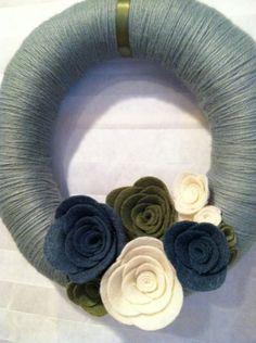 Beautiful yarn wreath.
