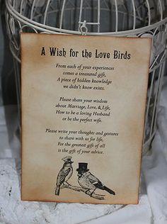 Wedding Wishes poem for birdcage