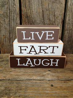 Live FART Laugh mini block set Funny Family wood blocks home gift décor, LOL
