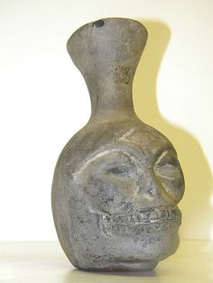 Rare 16th Century Antique Shell Tempered Head Pot Native American Artifact