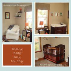 Baby boy nursery in orange, blue and brown.