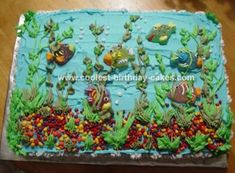 creatur cake, sheet cake ocean, sea parti, cake decor, sea cake, amaz cake