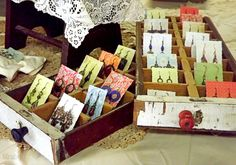 Divided antique drawers for earring display