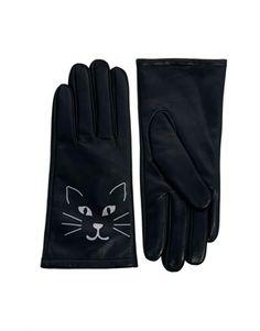 Image 1 ofASOS Leather Cat Print Gloves