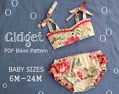 Gidget - Baby Bikini Sewing Pattern. Retro Swimsuit Pattern. Kids Clothing. Baby Sewing Pattern. Sizes 6m-24m. $7.75, via Etsy.