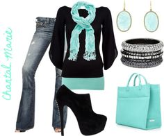 """black and baby blue"" by cmarie2683 on Polyvore"