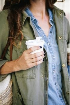 denim blue chambray shirt, olive green shirt jacket outfit
