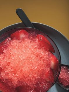 Watermelon Granita with Gingered Strawberries Recipe at Epicurious.com