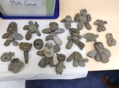on twitter  --Our finished creations. All inspired by the book On My Beach There Are Many Pebbles.-MrSoclassroom