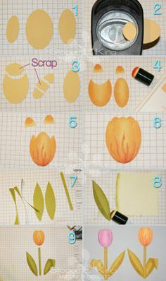 Punch art tulip tutorial uses Wide Oval punch, Large Oval punch and Small Oval punch