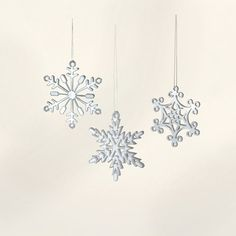 Small White Acrylic Snowflake Ornaments with by JourneyProductions