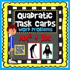 Quadratic Word Problem Task Cards: Ax^2+Bx (with optional QR codes) from Scaffolded Math and Science on TeachersNotebook.com -  (9 pages)  - Students can choose to factor, use the Quadratic Formula or their graphing calculators to solve projectile motion word problems where objects start from the ground (no C).
