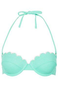 TOPSHOP Mint Scallop Bikini Top