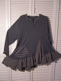 Reconstructed Long Sleeved T Shirt  Tunic  Charcoal Gray Lagenlook Asymmetrical Big Pocket Plus Size
