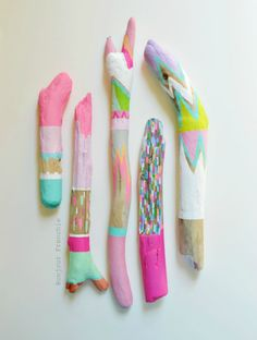 Painted Driftwood, Neon Stick Collection 5 Piece - Home Decor, Prop, Centerpiece, Pastel, Stripes, Triangles, Tribal, Scallop, Painted Stick. $130,00, via Etsy.